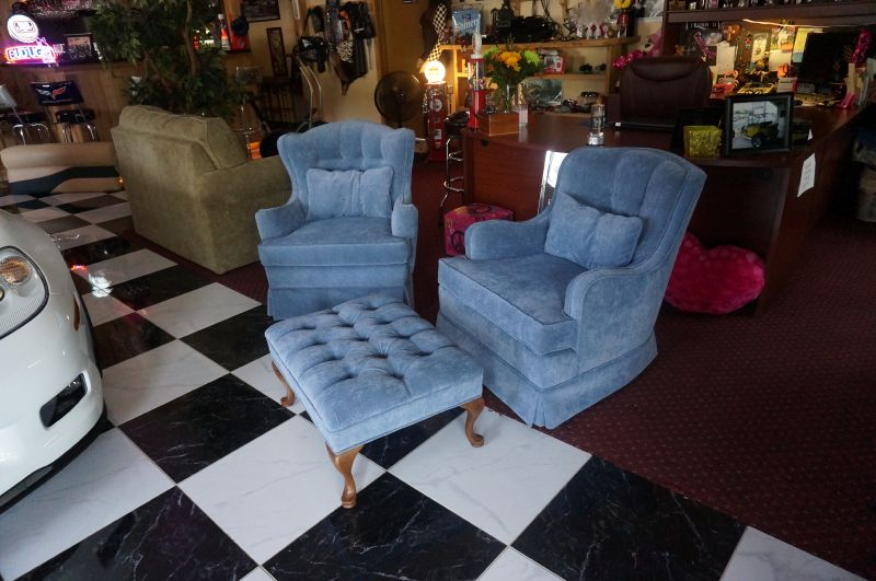 Blue Azul Chairs and Stool with new Upholstery by 5 Star