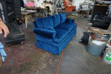 Blue Chenille Couch_1