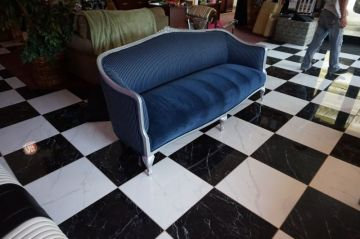 Blue Striped Antique Couch_2
