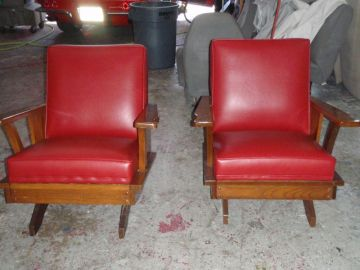 Red Rockers reupholstered by 5 Star Upholstery